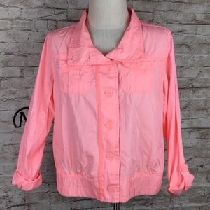 Maurices jacket Pink Coral XL roll tab Cotton